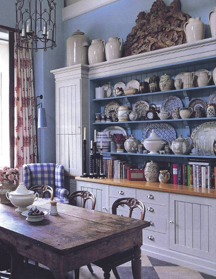 dishware display - fitted dish dresser with 19th century faience in designer William Yeoward's kitchen - WOI via Atticmag