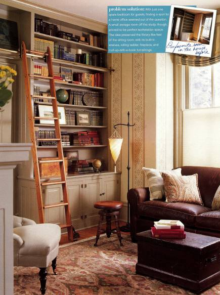 rolling library ladder in a converted home office - Renovation Style via Atticmag