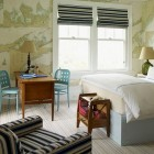 alternatives to wallpaper - bedroom walls covered with maps from Steven Gambrel via Atticmag