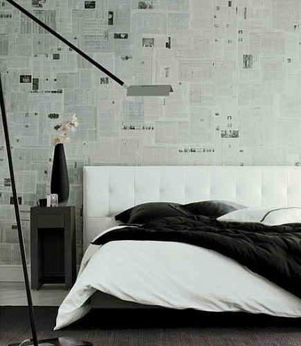 alternatives to wallpaper - modern bedroom walls covered with newspaper - flickr via Atticmag