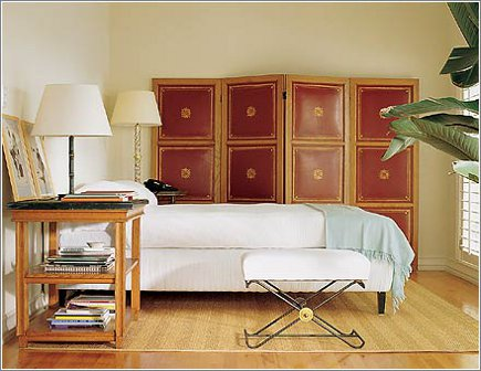 masculine bedrooms by Sills Huniford with gold-embossed leather screen - via Atticmag