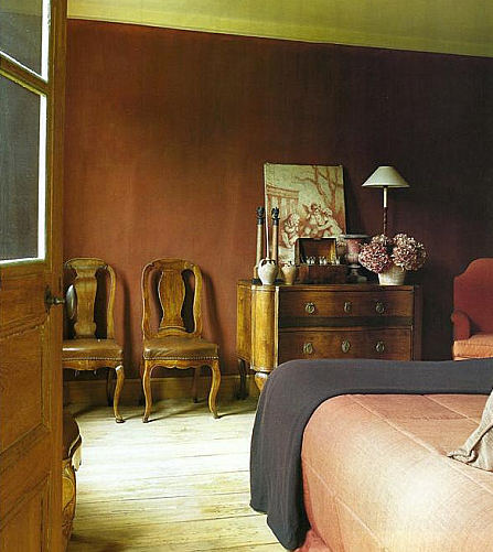 masculine bedrooms - Edouard Vermeulen's bedroom with cordovan brown walls - WOI via Atticmag