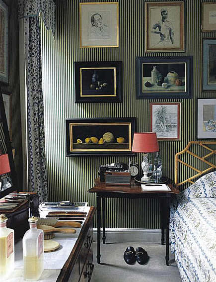masculine bedrooms - London bedroom with black-and-beige pinstripe walls and ebonized frame art - Maison Francaise via Atticmag