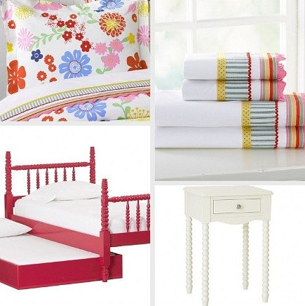 kids' rooms - Janie Collection red trundle bed with Dorset Floral duvet and shams - Pottery Barn Kids via Atticmag