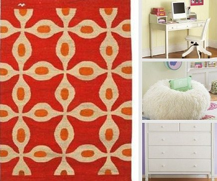 kids' rooms - red pattern Ancient Language rug from Anthropolgie and Furilicious bean bag chair from Pottery Barn Teen - via Atticmag