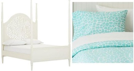kids' room s- white four poster headboard with cut outs teal and white sheets - Pottery Barn Teen via Atticmag