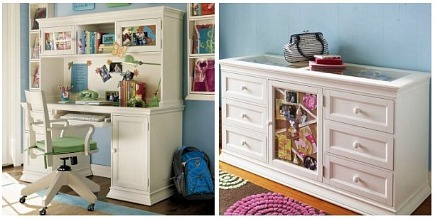 kids' rooms - white painted furniture for a girl's room - Pottery Barn Teen via Atticmag