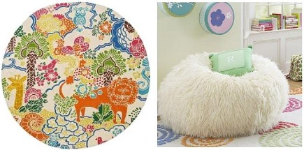 kids' rooms - colorful patterned round rug and white furry bean bag chair - Pottery Barn Teen via Atticmag