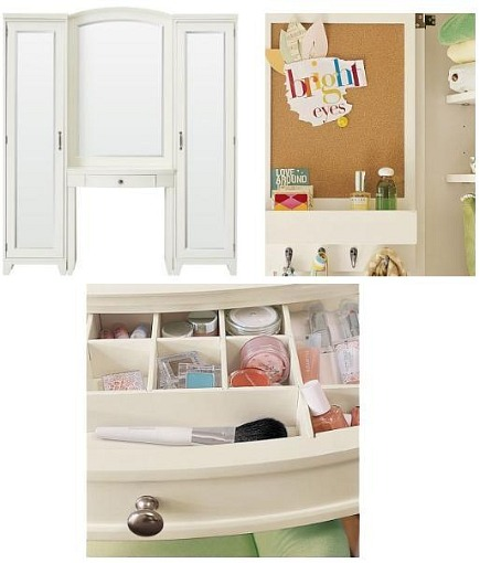 kid's rooms - white wooden painted Hampton Vanity tower - Pottery Barn Teen via Atticmag