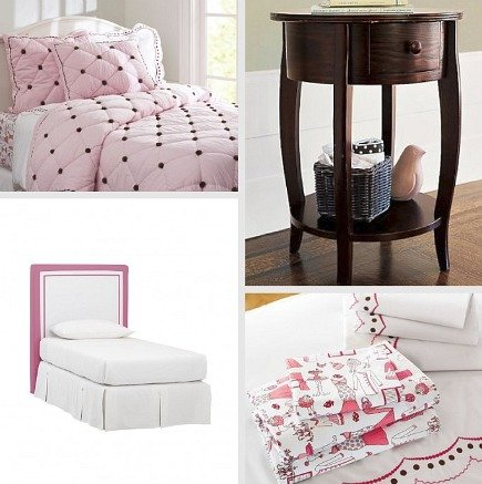 kids' rooms - pink and brown Amelia quilt and Collins twin headboard - Pottery Barn Kids via Atticmag