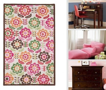 kids' rooms - Floral medallion rug and espresso wood furniture - Pottery Barn Kids via Atticmag