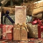 Royal Copenhagen Christmas tables 2008 - packages for castles and estates theme - via Atticmag
