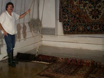 rug cleaning - preparing to hang rugs to dry after cleaning at Tulanian in Berkeley, Ca. - Atticmag