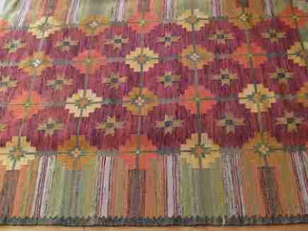 retro color vintage poish kilim rug - Atticmag