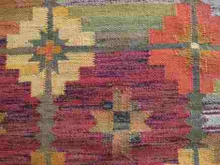 retro colored vintage polish kilim rug - Atticmag