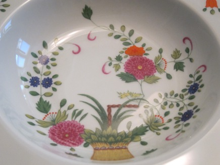 Close up of vintage Limoges Ceraline Panier Chinois pattern - Atticmag