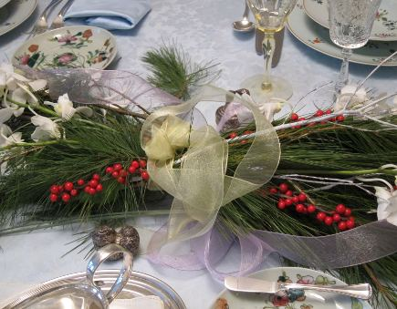 vintage limoges - pine bough, berry and orchid holiday centerpiece wrapped in ribbon - Atticmag