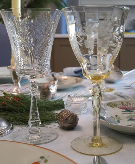 vintage limoges - vintage cut and etched crystal clear and vaseline wine glasses - Atticmag