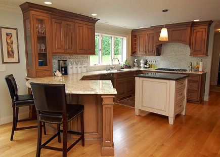 natural cherry kitchen with white island - Margie Berg Atticmag