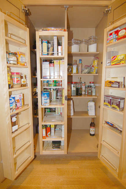 custom cherry kitchen - walk in pantry or larder cabinet with swing out doors - Margie Berg via Atticmag