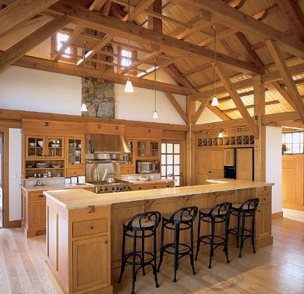 barn kitchen with mission style cabinets - Hutker Architects via Atticmag