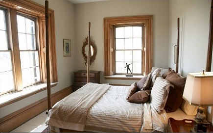stone mansion - neutral bedroom with antique four-poster bed in Canada's historic Maus Park outside Toronto - mauspark via atticmag
