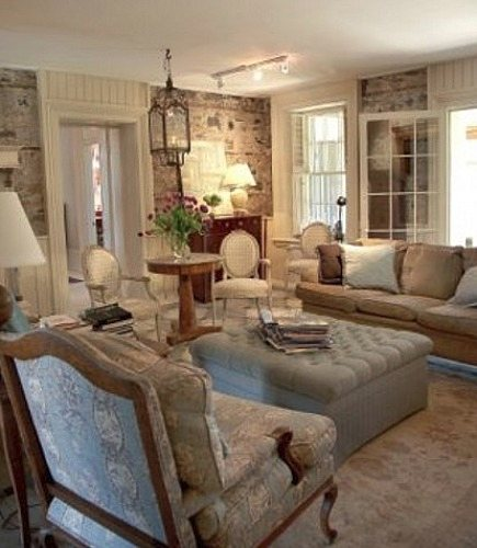 stone mansion - the great room of Canada's historic Maus Park outside Toronto with original stone walls - mauspark via atticmag