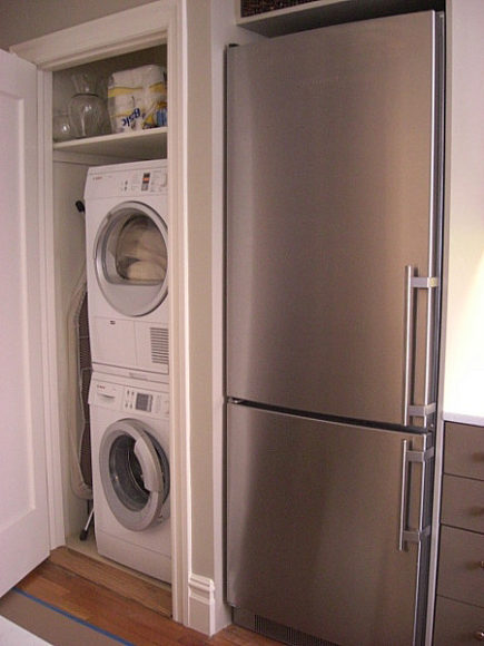 new kitchen - enlarged closet for Bosch Axxis washer, dryer and Liebherr refrigerator in renovated apartment - Atticmag