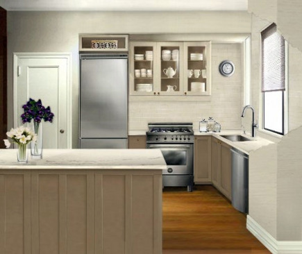 new apartment kitchen - virtual rendering to scale of the new apartment kitchen plan - Atticmag