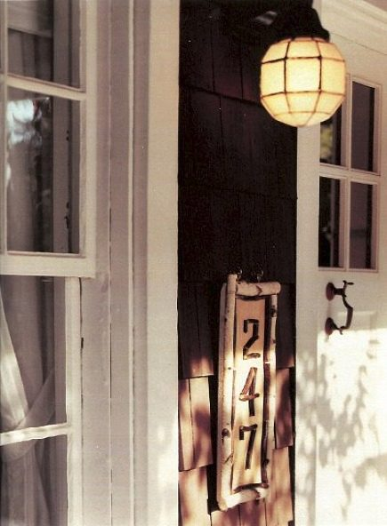 rustic twig house numbers address plaque near the front door - Martha Stewart Living via Atticmag