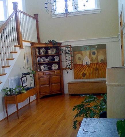 farmhouse modern - foyer of modern Viiginia farmhouse via Atticmag