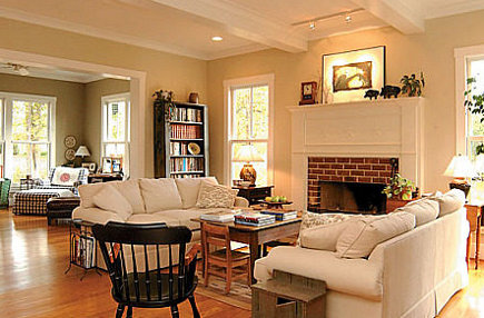 farmhouse modern - living room of modern Virginia farmhouse - atticmag