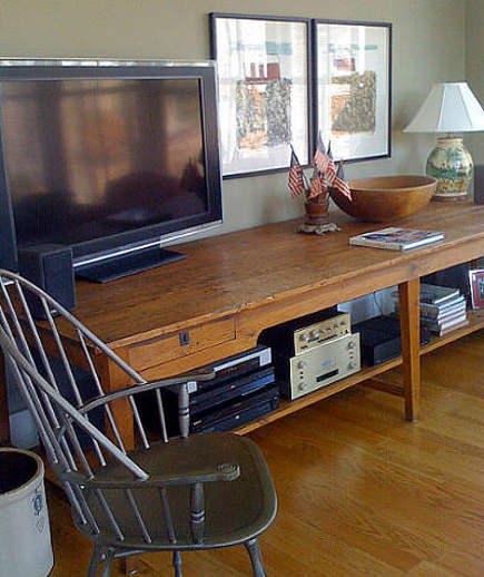 farmhouse modern - low antique table in modern Virginia farmhouse den - atticmag
