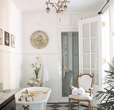 marble pattern floors - black and white checkerboard bathroom floor - House Beautiful via Atticmag