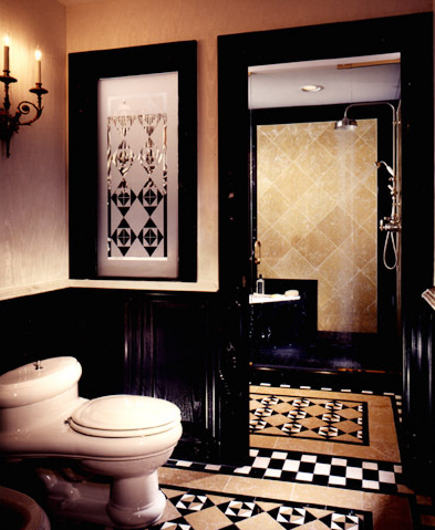 marble pattern floor - bathroom suite with 3 color patterned marble floor - Kitchen and Bath Ideas  via Atticmag