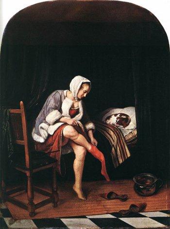 marble pattern floor - Jan Steen's The Morning Toilet 2, ca. 1665 - Rijksmuseum via Atticmag