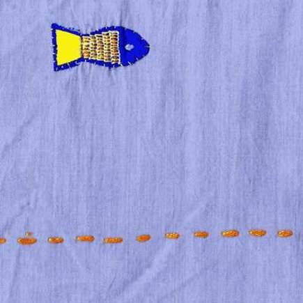 "Donghia ""go fish"" embroidered cotton fabric - Atticmag"