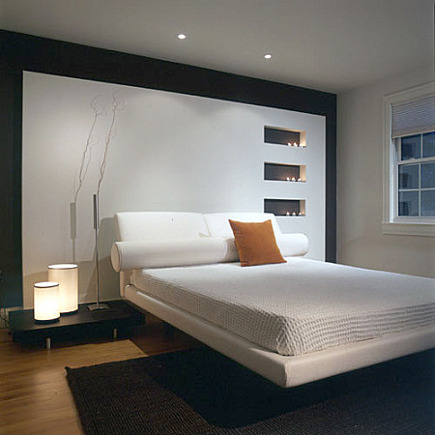 contemporary white bedroom accent wall with dark border - forma online via atticmag