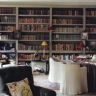 dining room bookcase - gray dining room with built in bookcases by Lars Bolander - Elle Decor via Atticmag
