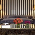 brown and white pavilion stripes in a living room by Anne Coyle via Atticmag