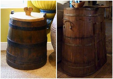 antique wooden French salt box and wooden Belgium grape harvest basket - Alhambra Antiques via Atticmag