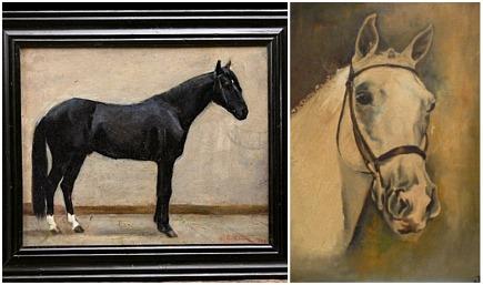 antique 19th century horse oil painting - Alhambra Antiques via Atticmag