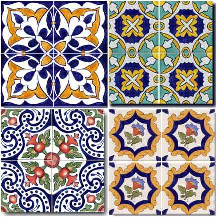 hand painted tiles of Spanish design from Art on Tiles via Atticmag