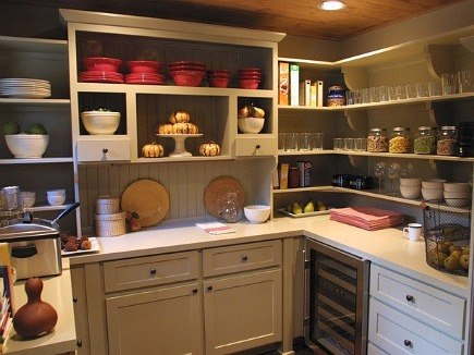pantry ideas - open pantry with hutch and wine refrigerator - via Atticmag