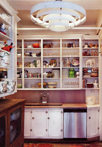 kitchen cabinet doors - narrow NYC kitchen with upper cabinet doors removed - NY Mag via