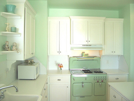 green kitchen cabinets - mint green retro kitchen with green Chambers range - Holly Abston via Atticmag