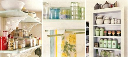 shelf details in the green retro cottage kitchen - Country Living via Atticmag