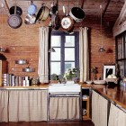 cabinets with skirts - Italian country kitchen with linen skirts on cabinets - WOI via Atticmag