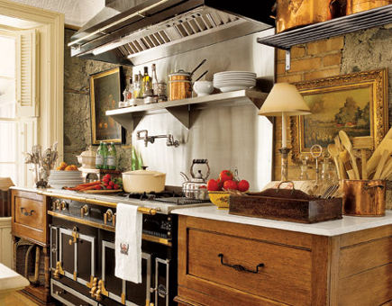 La Cornue range in the kitchen of the Canadian stone mansion kitchen at Maus Park - Country Living via Atticmag