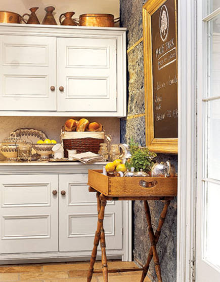 Butler's pantry in the Canadian stone mansion kitchen at Maus Park - Maus Park.com via Atticmag